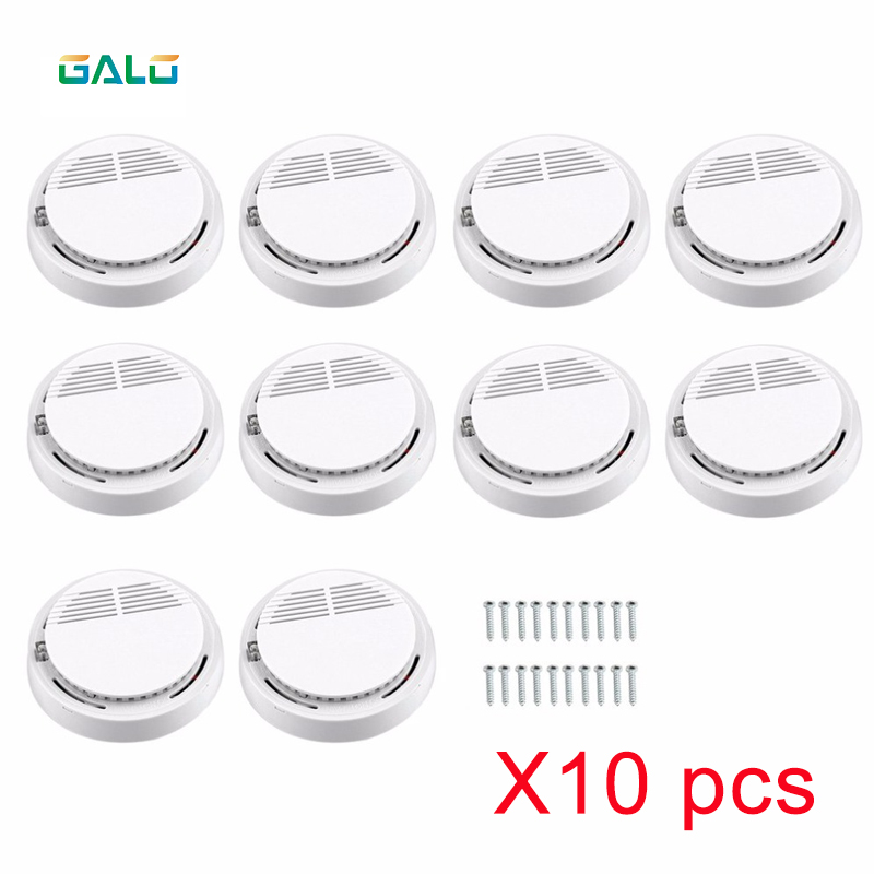 10PCS Wireless Sensitive Fire Protection Smoke Detector Work Independently Home Warehouse Office Security Alarm
