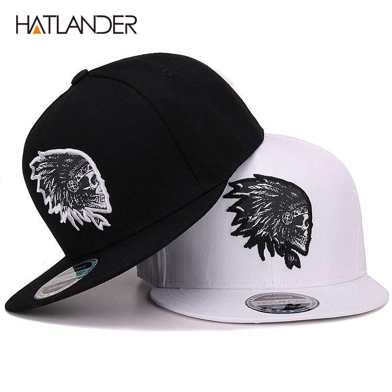 [HATLANDER]Embroidery Skull   baseball     caps   hats hip hop snapbacks flat brim bones gorra sports snapback   caps   for men women unisex