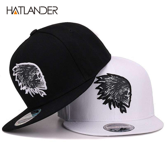 HATLANDER Embroidery Skull baseball caps hats hip hop snapbacks flat brim  bones gorra sports snapback caps for men women unisex b2f2c98ba87
