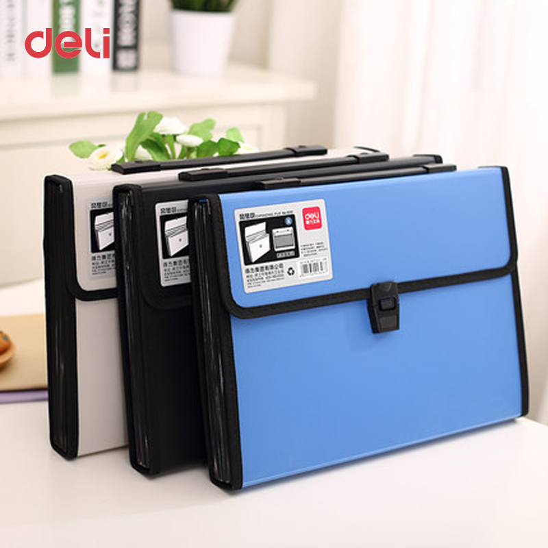 Deli Wholesale waterproof A4 Paper File Folder for document Bags school supplies stationery Office expanding wallet business bag deli 1pcs waterproof business a4 paper file folder bag high quality pu document rectangle office home school folder supplies