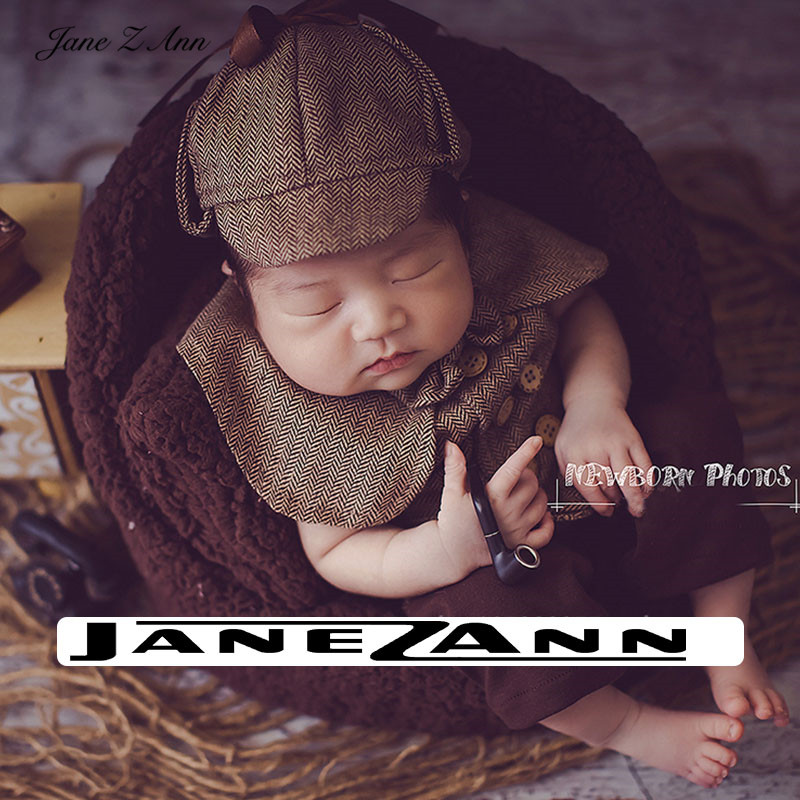 Jane Z Ann Newborn baby photo props infant  Sherlock Holmes detective theme photography costume 1