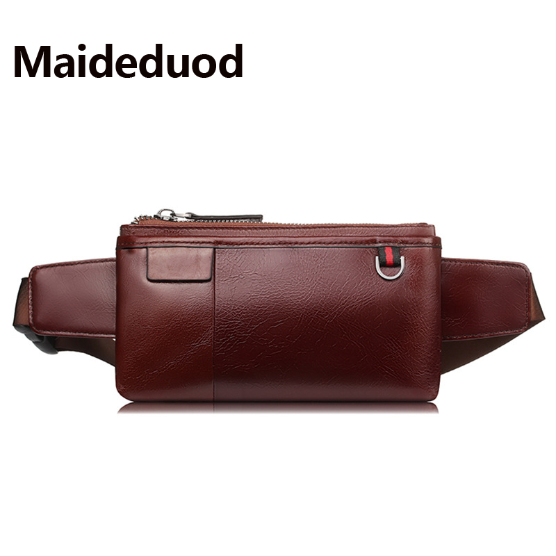 Maideduod Genuine Leather Waist Packs Fanny Pack Belt Bag Phone Pouch Bags Travel Waist Pack Male Small Waist Bag Leather Pouch genuine leather fashion men waist belt bags small fanny pack phone pouch wallet brand messenger shoulder bag travel waist pack