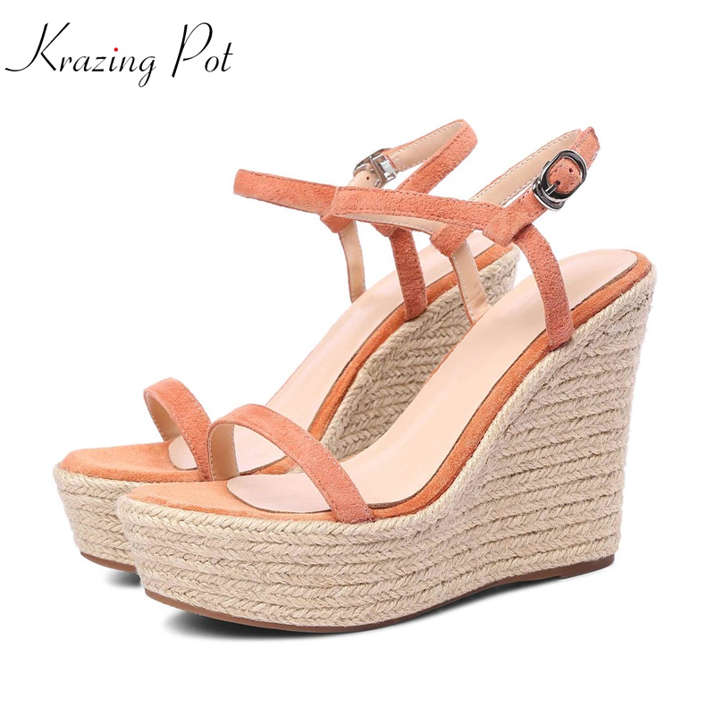 Krazing pot 2018 new brand summer ankle straps round peep toe women platform sandals wedges super high heels increased shoes L10 krazing pot new genuine leather peep toe ankle straps rivets fashion women sandals women square high heels summer lady shoes l20