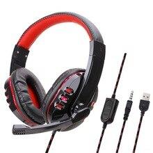 Przewodowe stereofoniczne słuchawki dla graczy słuchawki USB Gamer z zestaw słuchawkowy z mikrofonem dla PS4/MP3/PC/słuchawki komputerowe dla graczy