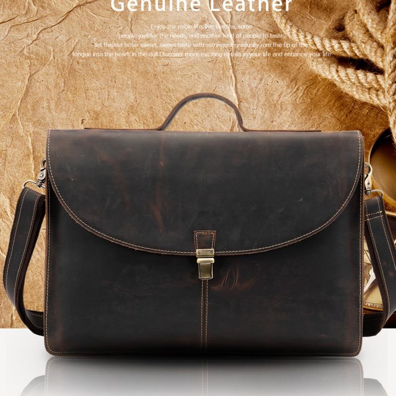 100% Genuine Leather Male Bussiness Bag For Man Messenger Bag Men's Shoulder Bag Leather Briefcase Handbags For Document