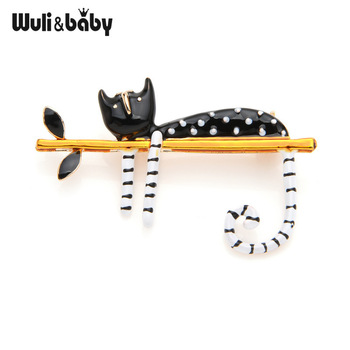 Wuli&baby Lazy Cat Sitting On The Tree Enamel Brooches For Women And Men Bouquet Pin 2019 New Fashion Jewelry 1