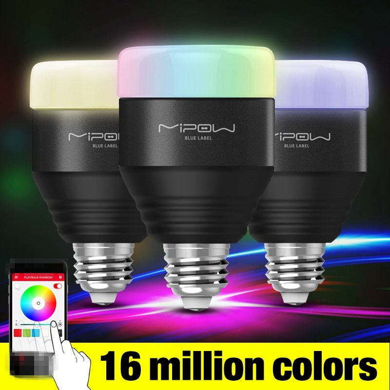 MIPOW E27 LED Bulb 5W RGB Light Dimmable Smart Lighting Bluetooth 4.0 Wireless App Control Playbulb Wake Up Lamp AC100-240V smart bulb e27 led rgb light wireless music led lamp bluetooth color changing bulb app control android ios smartphone