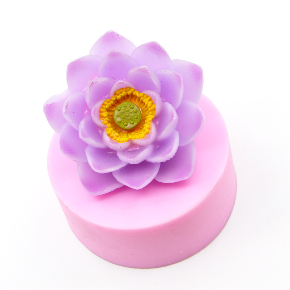 3D Lotus Flower Big Size Silicone Soap Mold Making For DIY Fondant Cake Craft Handmade Soap Craft Molds Resin Mold Soap Form