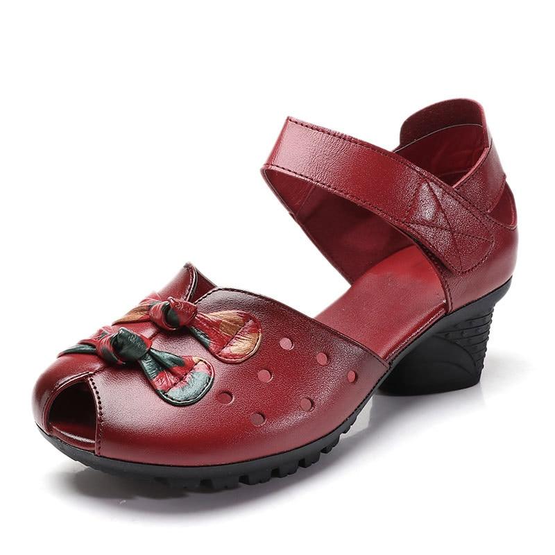 En purple Xiuteng Crochet De Ouvert Et La Femme Bout Confortable Boucle Cuir Black Mode Nouvelles Main Cheville Femmes Chaussures red À Sandales D'été Véritable r8BH8