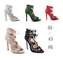 Women Sandals Brand Designer Gladiator High Heels Sexy Open Toe Cut Outs Women Shoes Lace Up Shoes Woman Pumps Sandalias Mujer