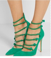 Sweet Woman Green Wedding Pointed Toe Pumps Popular Attractive Party Suede Stiletto Heel Shoes Summer High