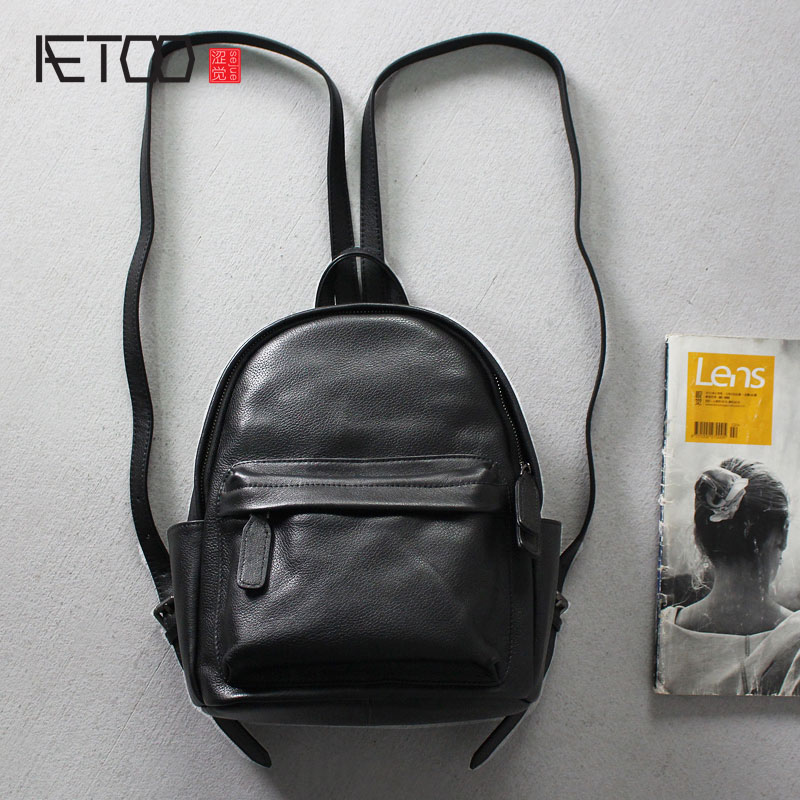 AETOO First layer of leather simple fashion casual shoulder bag soft leather Japan and South Korea Academy wind ladies small bac aetoo summer new shoulder bag women japan and south korea version of the pu backpack female tide fashion simple casual mini bag