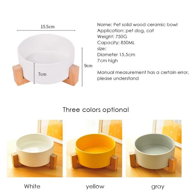 Ceramic Cat Bowl Wooden Frame  4