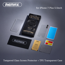 Костюм ТПУ Чехол + Закаленное Стекло для iPhone 7 Plus 5.5 дюйма 3D Дуги Край Полное Покрытие Экрана Протектор + Прозрачный Ультра Тонкий случае