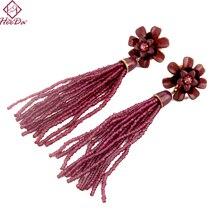 2019 New Korean Long Tassel Seed Beads Stud Earring Boho Fashion Joker Women Earring Kpop Simple Big Name Party Date Jewelry цена в Москве и Питере