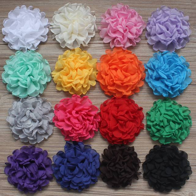 Free DHL EMS 300pcs 4 Multilayer Chiffon Flowers For Girls Hair Accessories Headband Flowers Craft Boutique