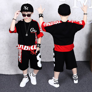 Image 4 - Boys Clothes Sports Suit Boy 2019 Summer Set Two piece Childrens Wear stitching suit 4 6 8 10 12 14 16 Years old Child clothes