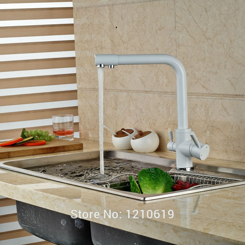 Uythner Newly White Painting Baked Kitchen Pur Water Faucet Single Hole Sink Faucet Basin Mixer Tap Deck Mount swanstone dual mount composite 33x22x10 1 hole single bowl kitchen sink in tahiti ivory tahiti ivory