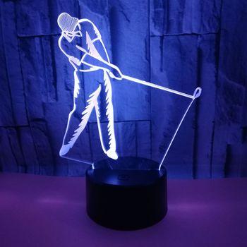 Nouveau Golf 3d lampe sept coloré tactile Led cadeau visuel 3d lampes de Table à distance tactile USB et batterie alimentation lampe de bureau