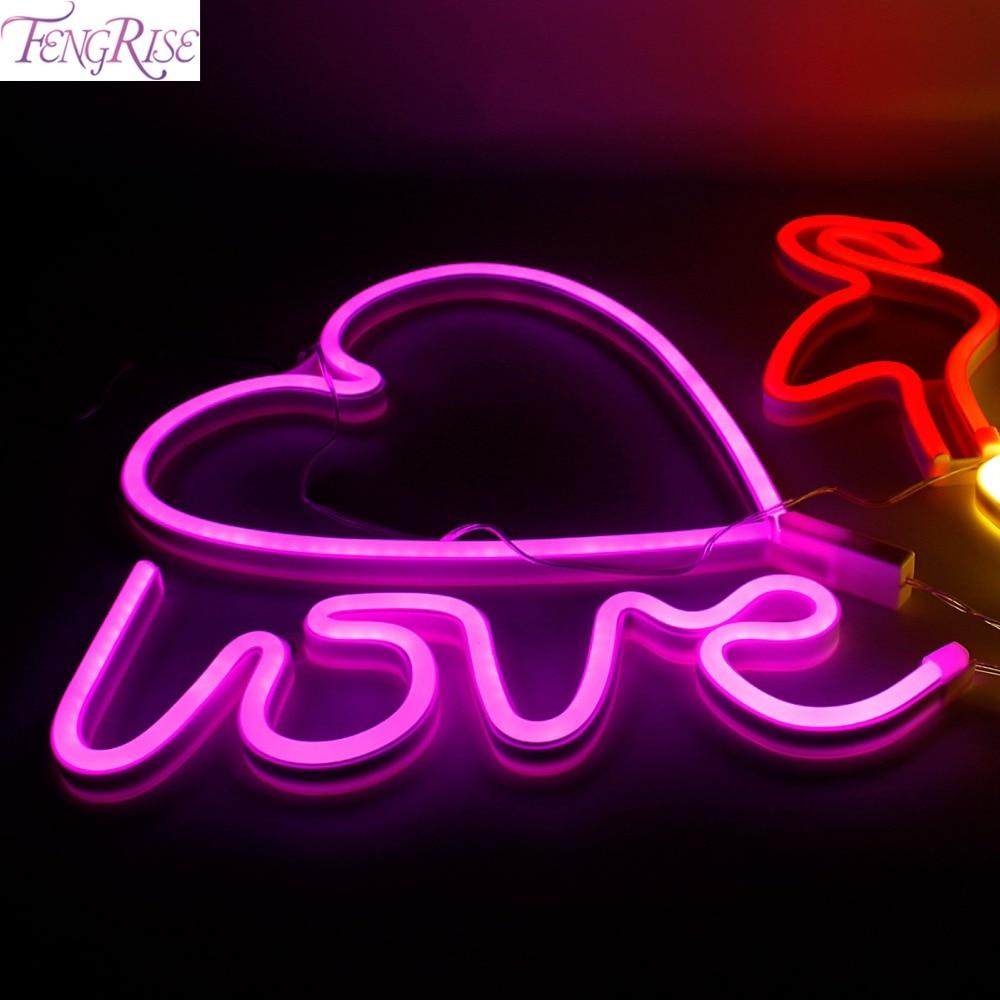 FENGRISE USB Charging Neon Moon Lamp Holiday Light Flamingo Cactus Moon Cloud LED Night Light Festival Party Wedding Decoration