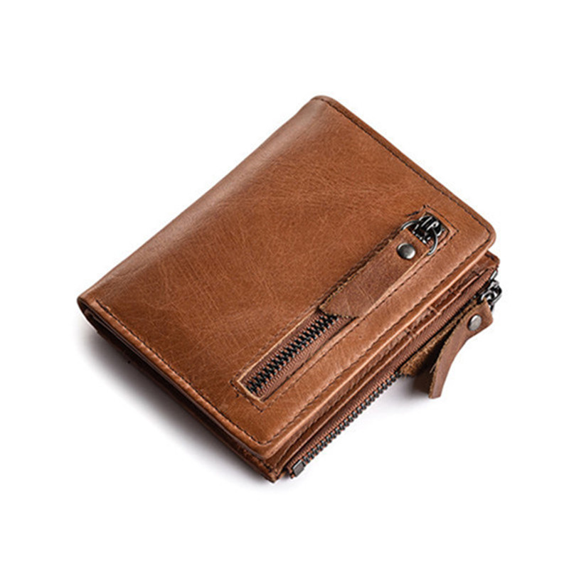 Genuine Leather Men Short Wallet Vintage Bifold Clutch Male Double Zipper Coin Purse Men ID Card Holder Luxury Brand Wallet NEW men wallets famous brand luxury genuine leather short bifold wallet mens clutch card holder male purse money bag coin pouch