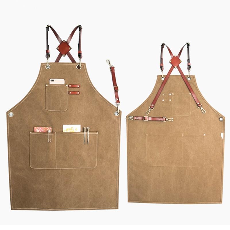 Khaki Gray Canvas Apron Leather Strap Barista Bartender Baker Chef Waitstaff Uniform Hairdresser Barber Florist Work