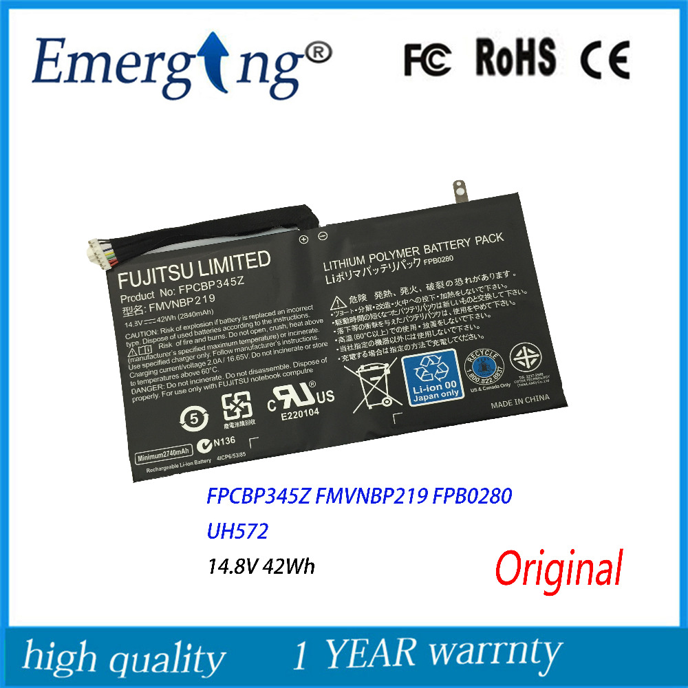 14.8V 42Wh FPCBP345Z Laptop Battery for FUJITSU FPCBP345Z FMVNBP219 FPB0280 LifeBook UH572 Ultrabook 10 8v 5800mah original new fpcbp179 battery for fujitsu lifebook s6420 s6421 s6410 s6520 s6510 s7210 s7220 fmvnbp160 fpcbp179ap