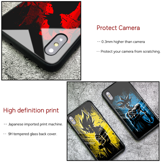 Dragon Ball Z Son Goku Glass Back Case Cover for iphone Models