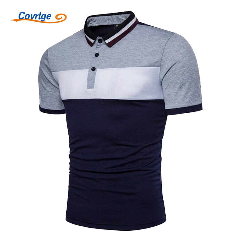 Covrlge 2018 New Men Short Sleeve   Polo   Shirt Fashion Summer Striped Patchwork Male Tee Shirts Brand Jersey Casual   Polos   MTP051