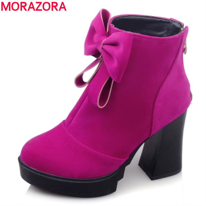 MORAZORA 2017 Winter high quality flock fashion shoes woman thick high heels round toe platform ankle boots big size 34-43 big size 34 43 vintage thick high heels platform ankle boots female fashion shoes woman buckle charm lace up fall winter boots