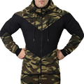 2017 New Fashion Hooded Sweatshirts autumn and Men's hoodie military camouflage stitching casual coat