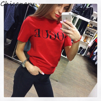 Chicanary 2017 Brand Summer Tops Fashion Clothes Women VOGUE Letter Printed Harajuku T Shirt Red Black