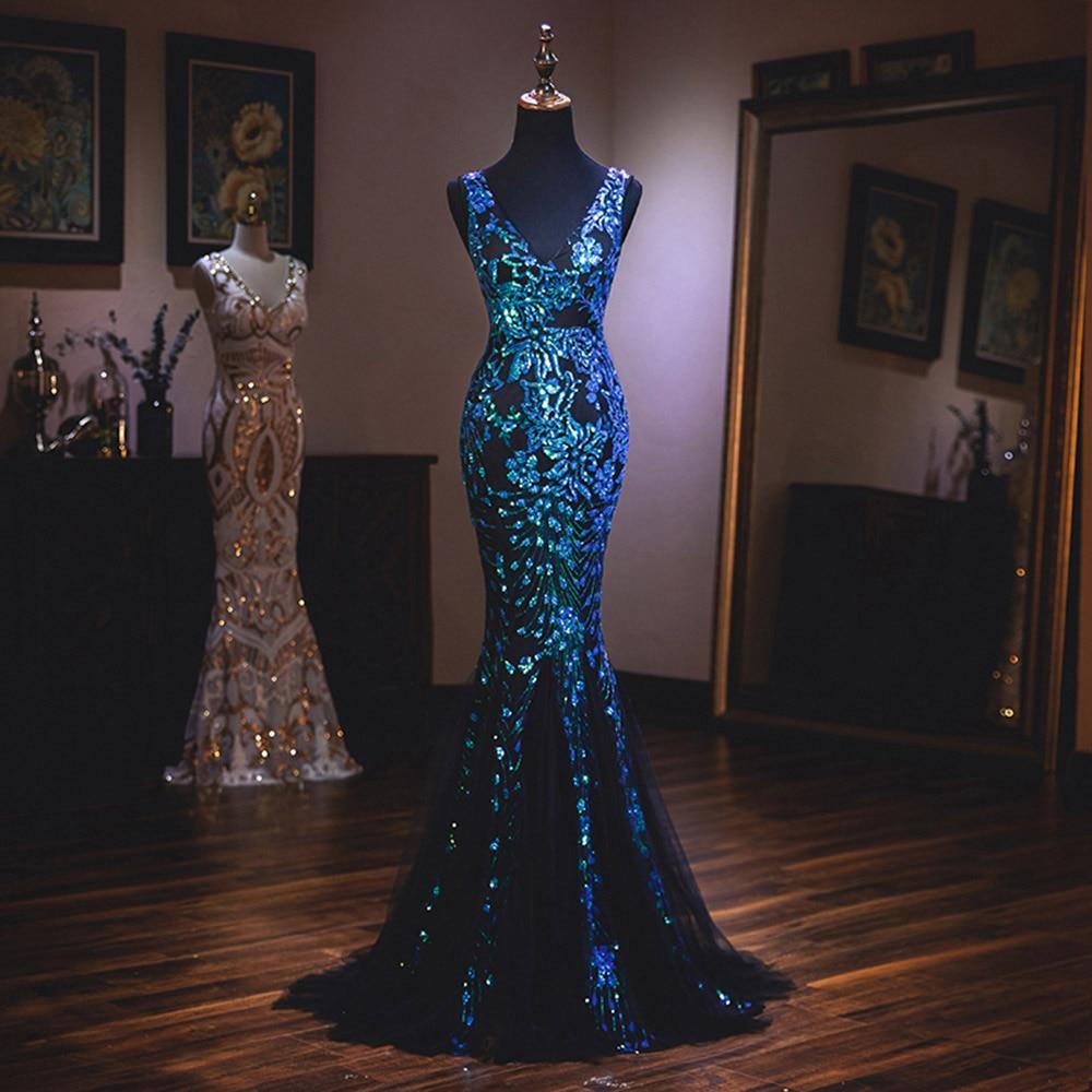Dressv   evening     dress   mermaid v neck elegant sleeveless backless floor-length wedding party formal   dress     evening     dresses