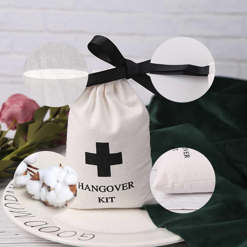 100 Pcs Pribadi Kemasan Perhiasan Pernikahan Nikmat Tas Katun Putih Kanvas Serut Tas Custom Logo Chic Kantong Kecil