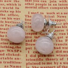 xinshangmie 1 pair Silver Plated Natural Rose Pink Quartzs Earrings Bread Shape Ear Studs For Women Fashion Jewelry Gift(China)