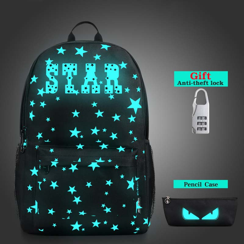 все цены на Star Nightlight School Backpacks Children Shoulder Bag Canvas Printing Backpack School Bags For Teenage Boys Rucksack Back Pack