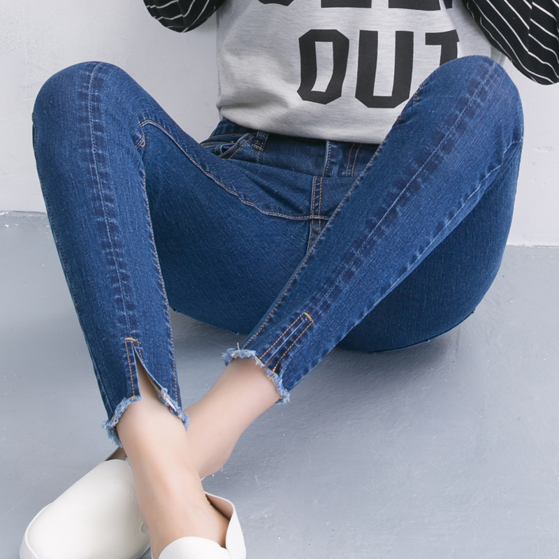 2017 Autumn and winter high waist jeans female ankle length trousers elastic slim black skinny pants