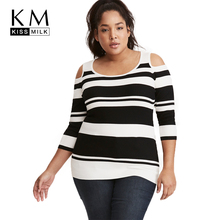 Kissmilk 2018 Plus Size Casual Women Stripe Sweaters Big Hollow Out Skinny Female Clothing Large Lady Pullovers Tops