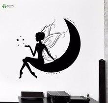 YOYOYU Vinyl Wall Decal Elf On The Moon Star Fairy Tale DIY Girl Room Home Dream Art Decoration Stickers FD103