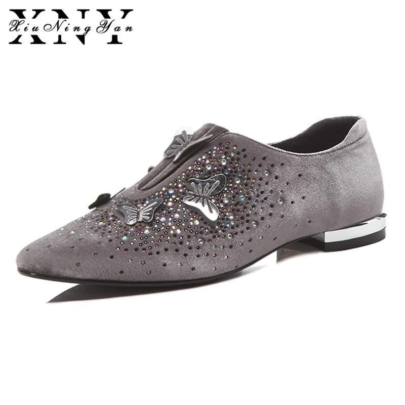 XiuNingYan femmes basiques appartements en cuir véritable cristal printemps automne chaussures à la main décontracté chaussures plates femme grande taille