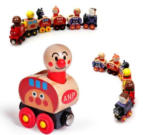 Деревянная игрушка магнитная фургон для перевозки людей Anpanman деревянный поезд игра подарок 1 компл. ...
