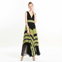 Long Dress Runway High Quality 2019 Spring Summer New Women Fashion Party Boho Beach Sexy Vintage Elegant Chic Lace Vest Dresses