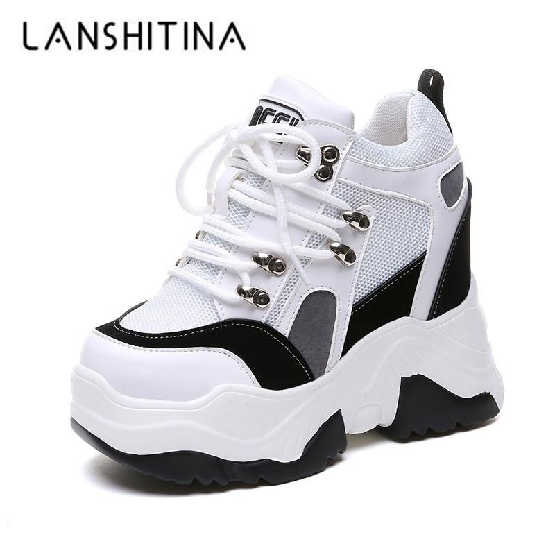 2018 neue Frauen Plattform Casual Schuhe Mesh Atmungsaktive Keil Heels Schuhe 10 cm Herbst Dicke Sohle Turnschuhe Frau Deportivas Mujer