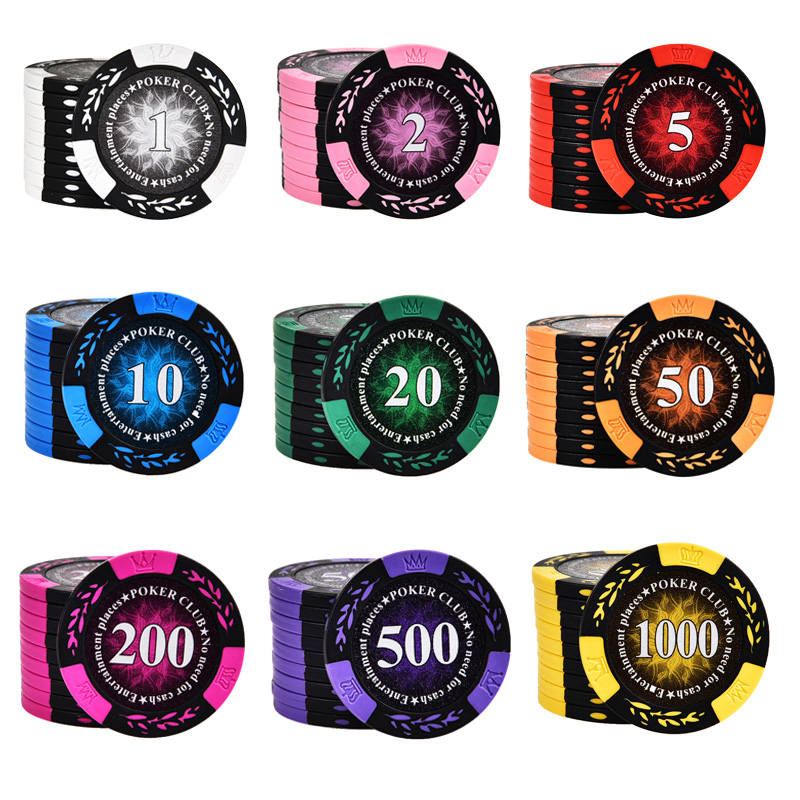 20 PCS/LOT Poker Chips 13 Colors 14g Clay/Iron 40*40mm Crown Casino Chips Texas Holdem Poker Wholesale Poker Club Chips