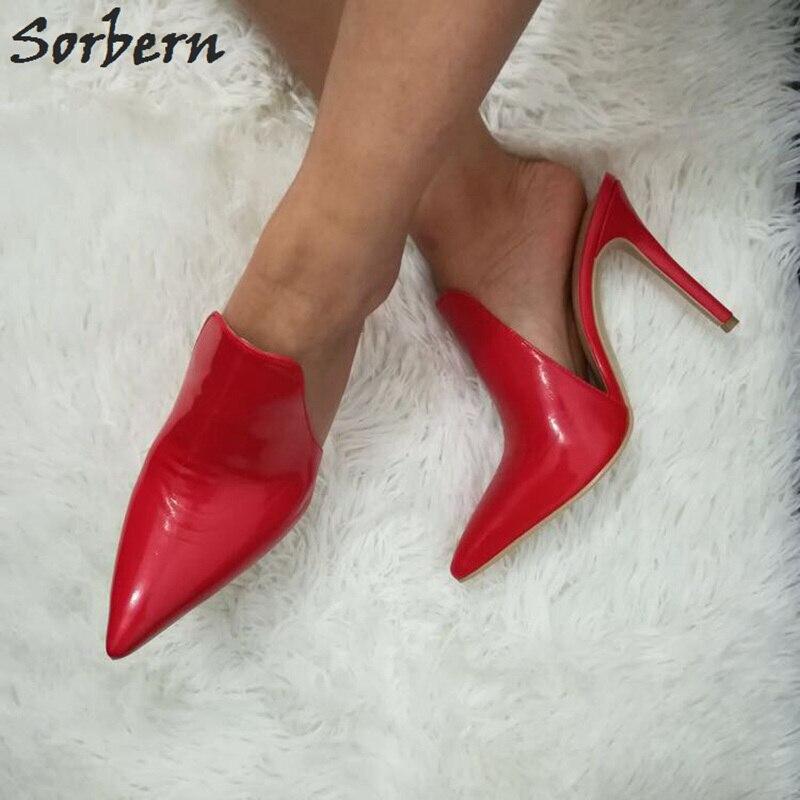 Sexy Sorbern Elevador Zapatos Mujer De Alta rojo Mujeres Negro Tacones Para Zapatillas multiple Rojo Punta Sandalias Brillante dCz4UpnCr