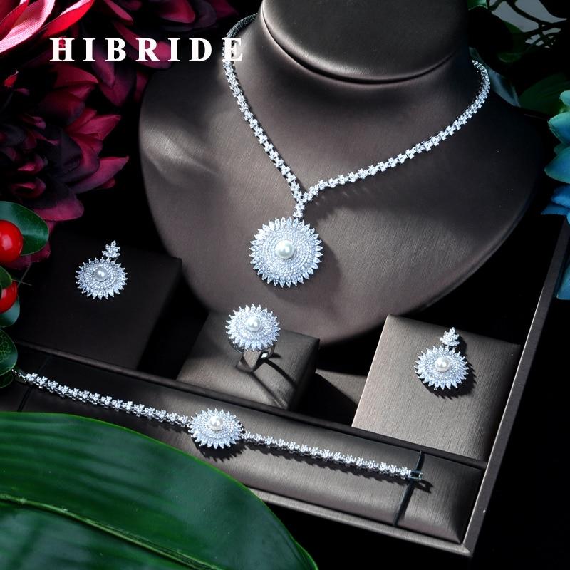 HIBRIDE nouveauté bijoux de mariée 4 pièces ensemble forme ronde ensemble de mariée pour les femmes de mariage, perles africaines bijoux ensemble N-103