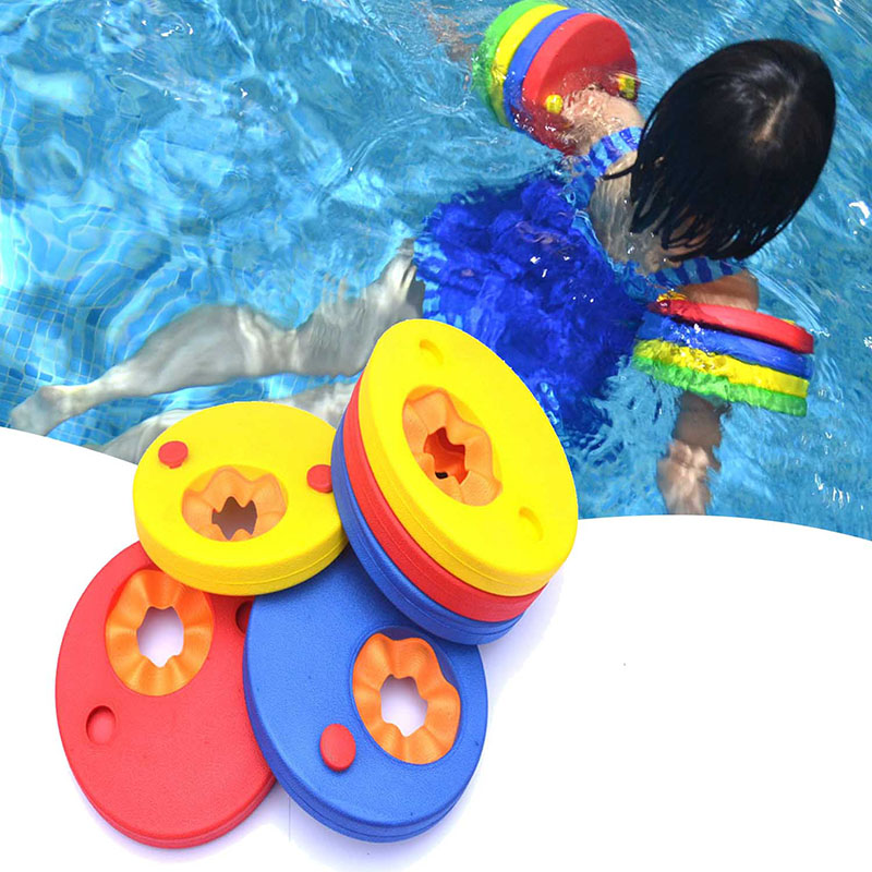 1Pcs EVA Foam Swim Discs Arm Bands Swimming Floating Sleeves Inflatable Pool Float Board Baby Swimming Exercises Circles Rings