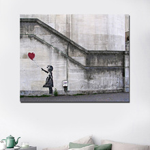 Banksy girl with a red balloon Wall Art Canvas Painting Posters Prints Modern Pictures For Living Room Home Decor