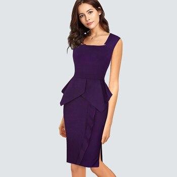 a0e8a0c435fc Vestido de verano informal con corte lateral para oficina y Peplum para  mujer elegante vestido de tubo ajustado con volantes HB446