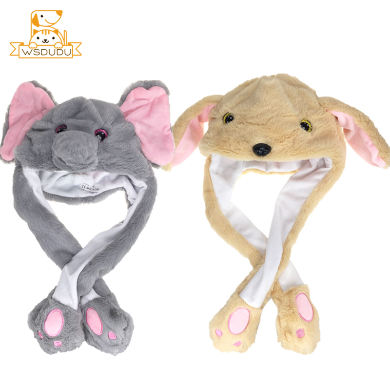 Kawaii Moving Ears Cap Pikachu Rabbit Hat Cat Fawn Dog Elephant Animal Dolls Stuffed Toys Cute Cartoon Clothing Accessories Gift